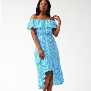Palm Party Off-The-Shoulder Flounce Midi Dress